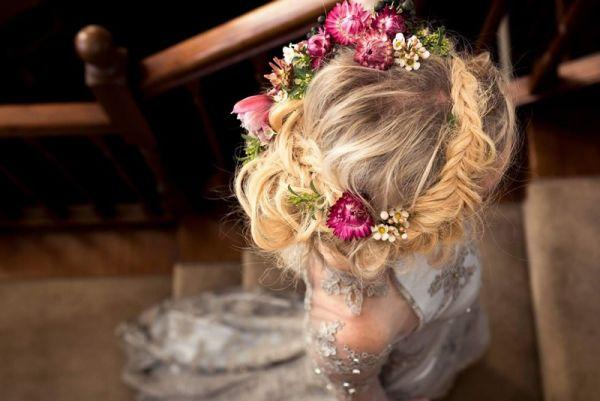 wedding hair style with floral crown